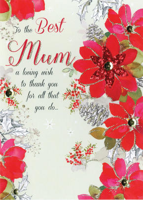 Best Mum Embellished Hand-Finished Christmas Card