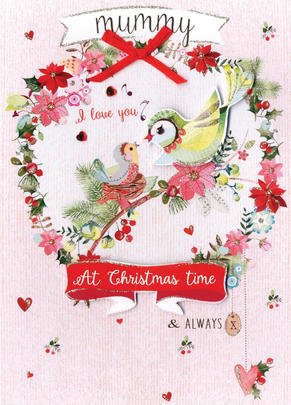 Mummy Birds Embellished Hand-Finished Christmas Card