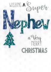 Super Nephew Embellished Hand-Finished Christmas Card