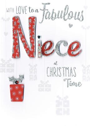 Fabulous Niece Embellished Hand-Finished Christmas Card