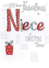 Fabulous Niece Embellished Hand-Finished Christmas Card