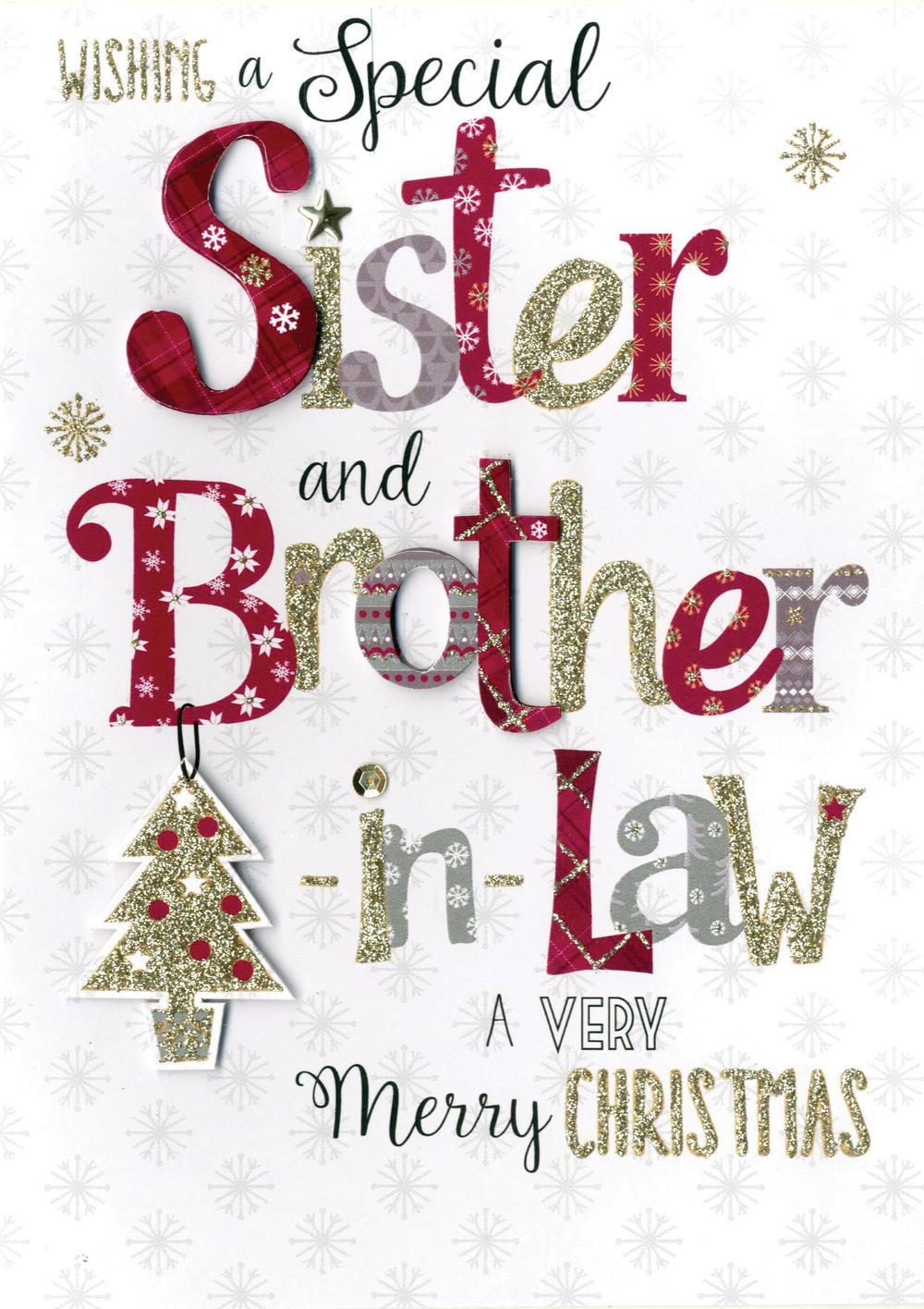 Sister & Brother-In-Law Embellished Hand-Finished Christmas Card