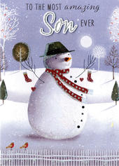 Son Snowman Embellished Hand-Finished Christmas Card