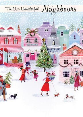 Wonderful Neighbours Embellished Hand-Finished Christmas Card