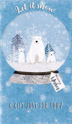 Polar Bears In Snow Globe Christmas Money Wallet Gift Card