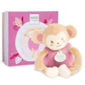 Doudou Pink Monkey Super Soft Plush Toy In Solid Gift Box