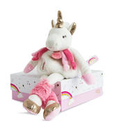 Doudou Medium White Unicorn Super Soft Plush Toy In Solid Gift Box