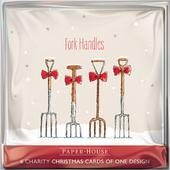 Pack of 6 Fork Handles Charity Christmas Cards Supports Multiple Charities