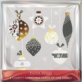 Pack of 6 Blue Baubles Charity Christmas Cards Supports Multiple Charities