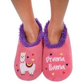 Snoozies! Pink Drama Llama Slippers Ladies Large