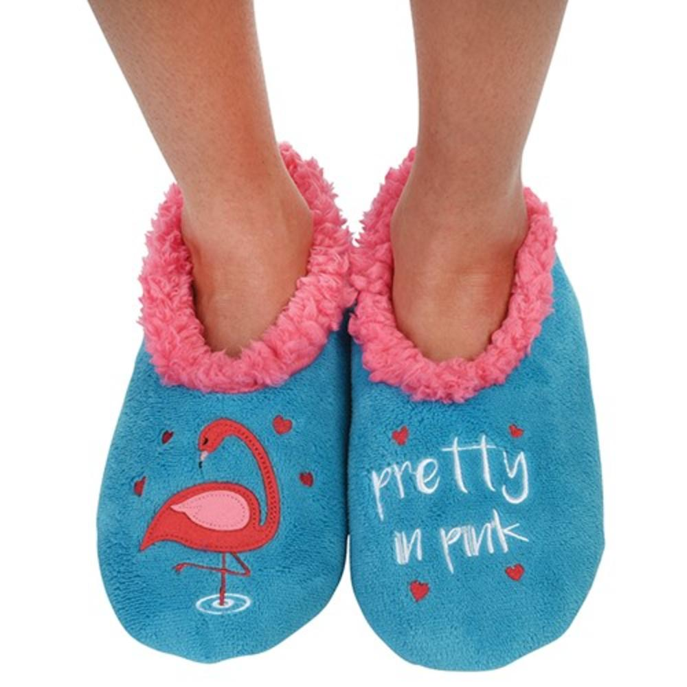 Snoozies! Turquoise Flamingo Slippers