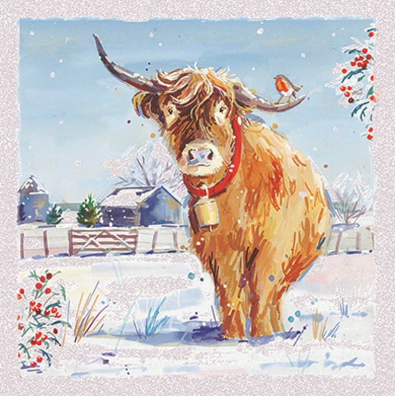 Pack of 6 Highland Cow Charity Christmas Cards Supporting ...