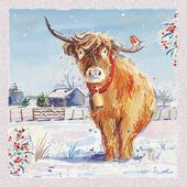 Pack of 6 Highland Cow Charity Christmas Cards Supporting Multiple Charities