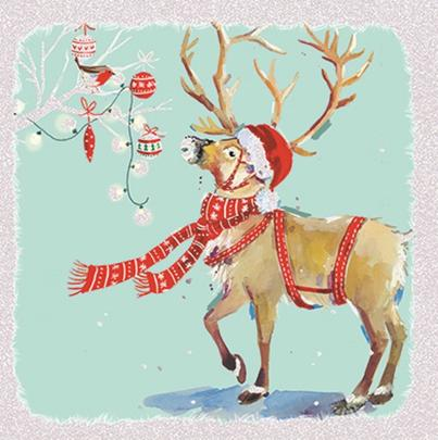 Pack of 6 Festive Reindeer Charity Christmas Cards Supporting Multiple Charities