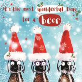 3D Holographic Beer Time Christmas Greeting Card