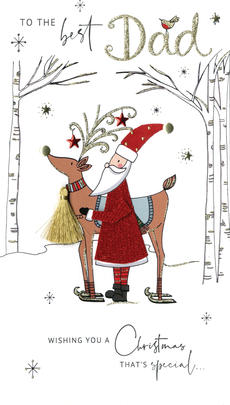 Best Dad Embellished Christmas Card Hand-Finished