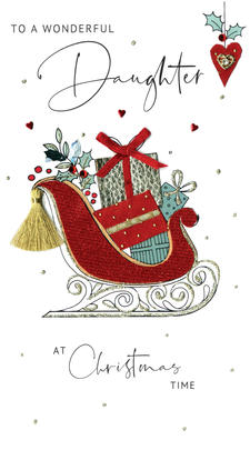 Wonderful Daughter Embellished Christmas Card Hand-Finished