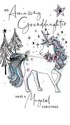 Granddaughter Unicorn Embellished Christmas Card Hand-Finished