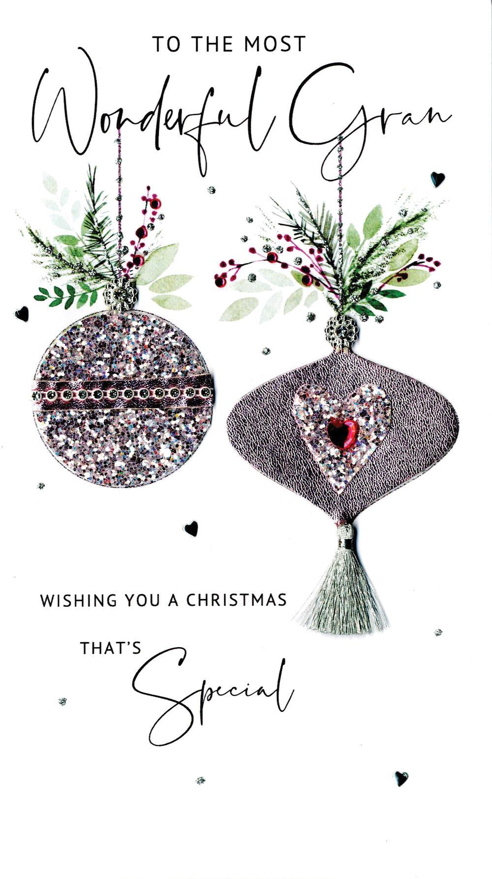 Wonderful Gran Embellished Christmas Card Hand-Finished