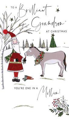 Brilliant Grandson Embellished Christmas Card Hand-Finished