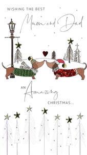 Mum & Dad Embellished Christmas Card Hand-Finished