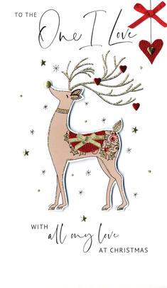 One I Love Embellished Christmas Card Hand-Finished