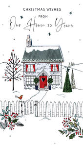 From Our House To Yours Embellished Christmas Card Hand-Finished