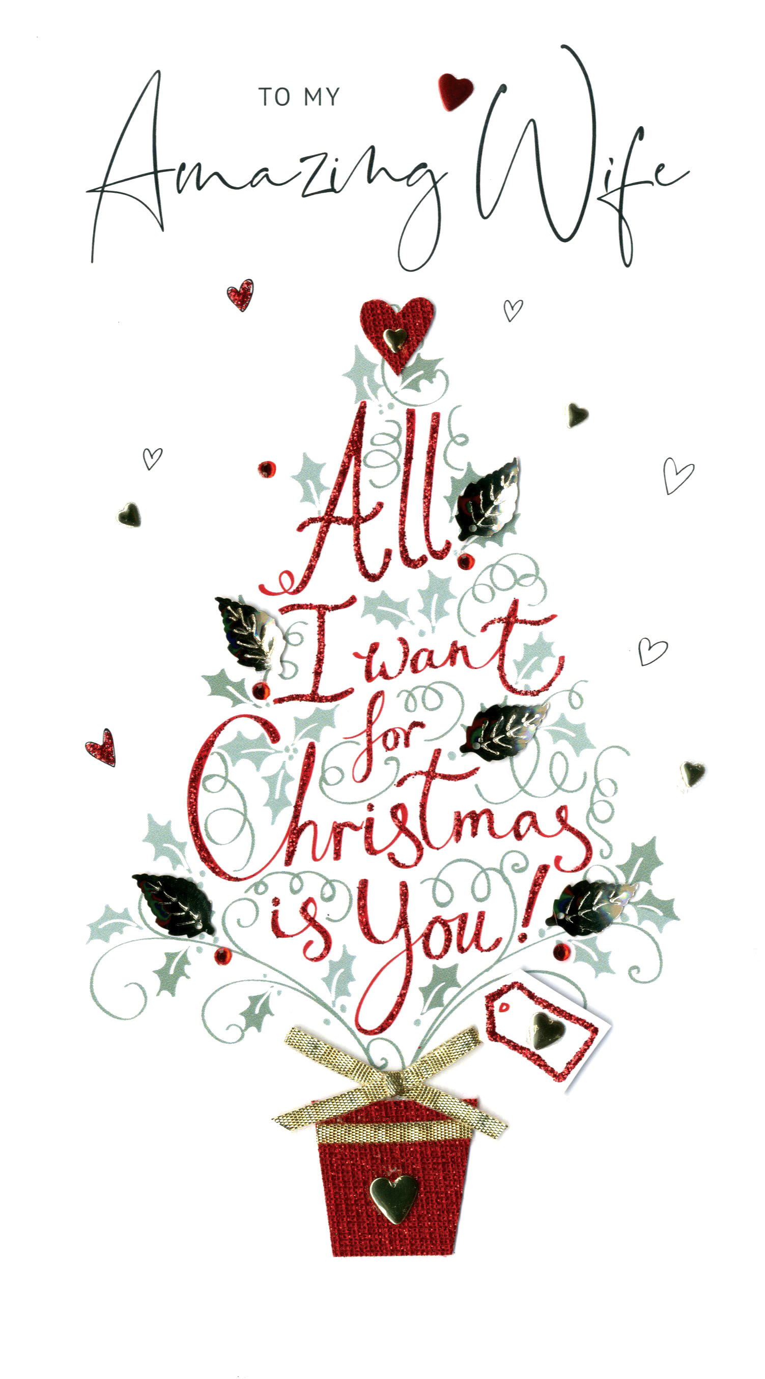 To Both Of You Embellished Christmas Card Hand-Finished Festive Cheer Cards