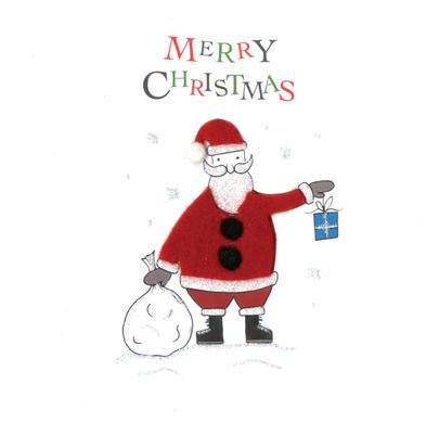 Santa Hand-Finished Christmas Card Embellished