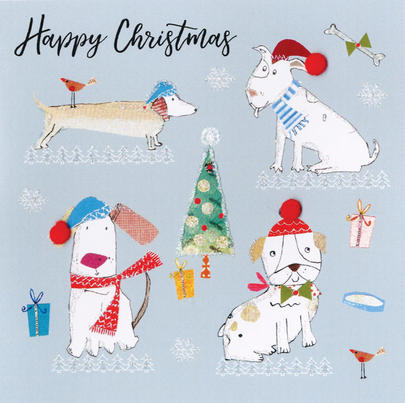Dogs Wearing Santa Hats Hand-Finished Christmas Card Embellished