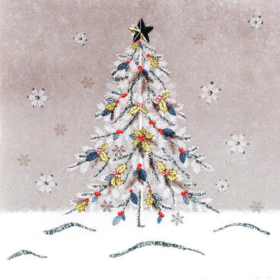 Decorated Tree Hand-Finished Christmas Card Embellished