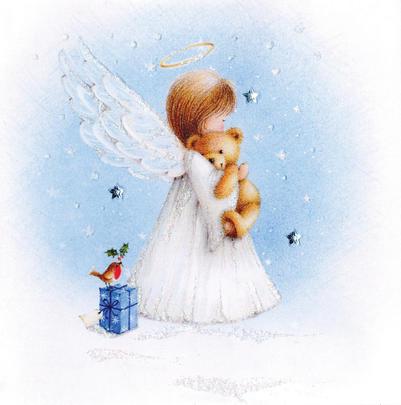 Angel Hand-Finished Christmas Card Embellished