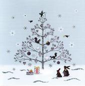 Tree & Animals Hand-Finished Christmas Card Embellished