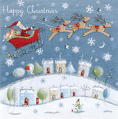 Santa Flying Hand-Finished Christmas Card Embellished