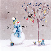 Snowman Hand-Finished Christmas Card Embellished