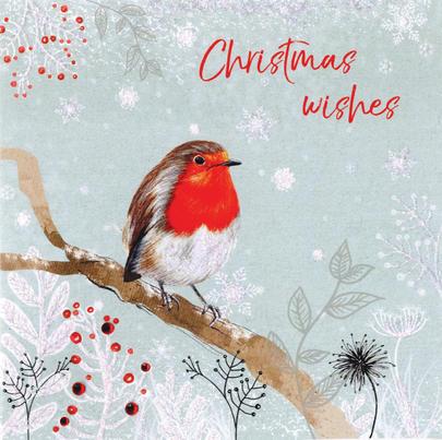 Robin Hand-Finished Christmas Card Embellished