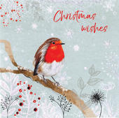 Robin Hand-Finished Christmas Card Embellished