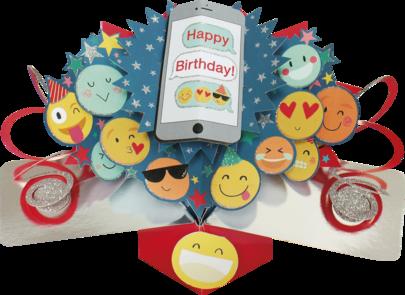 Happy Birthday Emoji Pop-Up Greeting Card