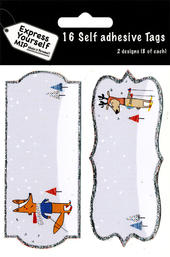Fox & Reindeer Christmas Gift Tags Pack Of 16 Self Adhesive Tags