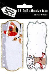 Robin & Rudolph Christmas Gift Tags Pack Of 16 Self Adhesive Tags