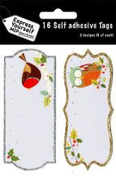 Robin & Owl Christmas Gift Tags Pack Of 16 Self Adhesive Tags