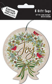 Joy Bauble Christmas Gift Tags Pack Of 16 Self Adhesive Tags