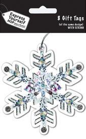 Snowflake Christmas Gift Tags Pack Of 16 Self Adhesive Tags