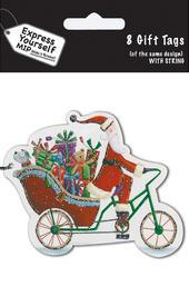 Santa On A Bike Christmas Gift Tags Pack Of 16 Self Adhesive Tags