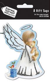 Angel & Bear Christmas Gift Tags Pack Of 16 Self Adhesive Tags