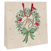 Large Joy Wreath 35cm x 35cm Christmas Gift Bag With Tag