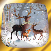 Woodland Deers Luxury Hand-Finished Christmas Card