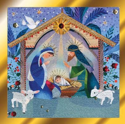 Nativity Scene Luxury Hand-Finished Christmas Card