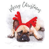 Pug In Antlers Luxury Hand-Finished Christmas Card