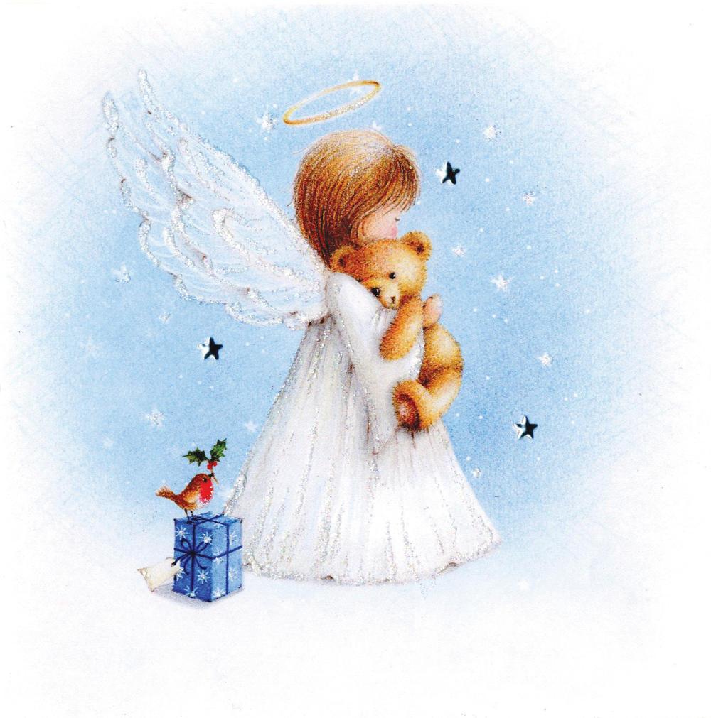 Angel & Bear Luxury Hand-Finished Christmas Card